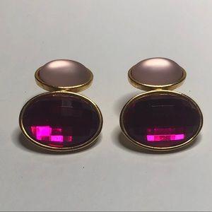 Retro Pink Two Toned Stud Earrings